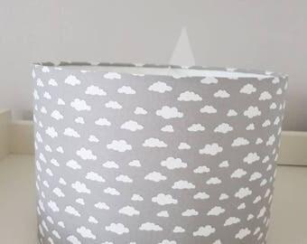 Handmade grey and white cloud drum lampshade.