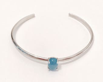 Blue Chalcedony Sterling silver bracelet/bangle