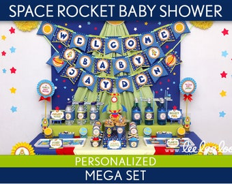 Space Rocket Baby Shower Package Collection Set Mega Personalized Printable // Space Rocket - S22Pz2