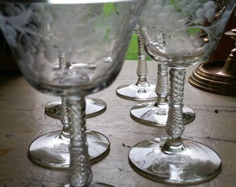 Vintage Etched Floral Glasses; Set of 6; Stemmed; wine/champagne