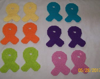 Plastic Canvas Awareness Ribbons--Magnets or Ornaments