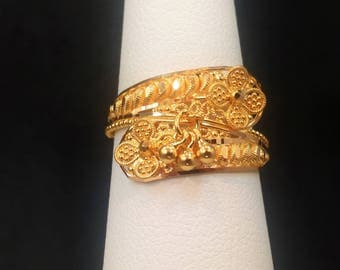 GOLDSHINE 22K Solid Yellow Gold RING Size 6 (US/Canada) Genuine & Hallmarked 916, Handcrafted and Extremely Gorgeous