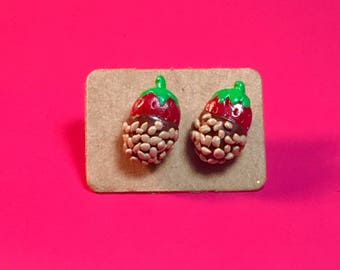 Chocolate Covered Strawberry Earrings! (With nuts)