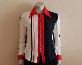 Vintage Women Elastic Blouse Long Sleeve Shirt Zip up Blue Red White Navy Blue Striped