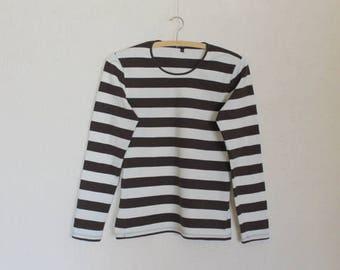 MARIMEKKO Nautical Shirt Long Sleeves Top Brown White Striped Sailor Blouse Marine Cotton Jersey T-Shirt Small Size