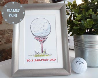 Personalised Father's Day Golf Ball Framed Print, Personalised Father's Day Print, Father's Day Gift, Gift for Golfer, Gift for Dad