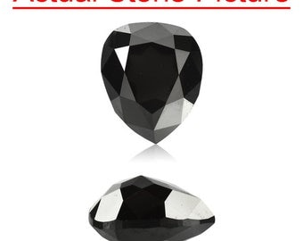 0.87 Cts of 6.94x5.18x3.43 mm GIA Certified AAA Pear Modified Brilliant ( 1 pc ) Loose Un-Treated Fancy Black Diamond