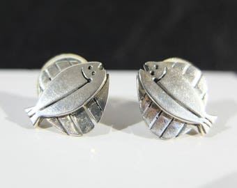 Vintage Jane and Anne Harvey Taxco Mexican Sterling Silver Fish Earrings