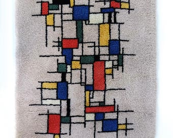 Mid Century Modern Rya-Style Shag Rug or Wall Hanging after a Piet Mondriaan Painting
