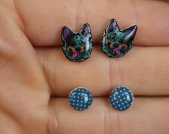Blue Heeler Earring set: Stainless steel posts for sensitive ears gift for Australian Cattle Dog  lover blue heeler loss memorial