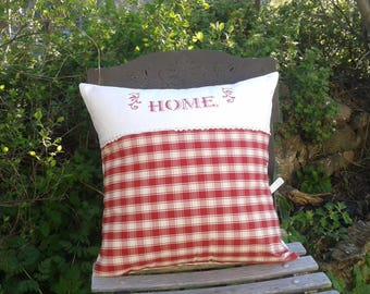 Country red gingham and white vintage sheet pillow