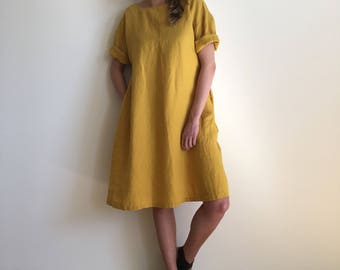 NEW Yellow midi dress from natural linen / loose fit or flared with a belt