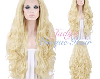 Long Curly Light Blonde Lace Front Wig Heat Resistant
