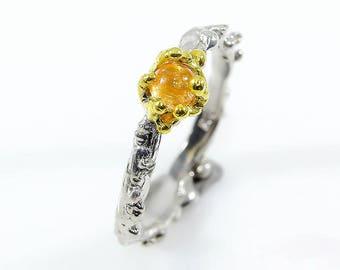 Spessartite Ring, Orange Gemstone Ring, January Birthstone Ring, Coral Ring, Ocean Ring, Textured Ring, Modern boho ring gifts for wife mom
