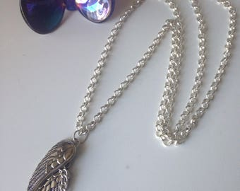Angel Wings Long Bohemian Necklace Jewelry Silver chain & Angel Wings and Turquoise-Boho Chic Jewelry