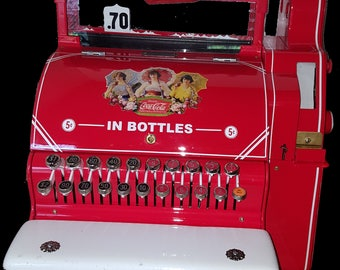 Vintage Coca-Cola theme cash register, Antique National Cash Register, Vintage NCR
