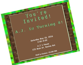 Birthday Invite - Minecraft inspired design