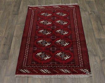 Small Red Handmade Tribal Turkoman Ghoochan Persian Area Rug Oriental 3X5