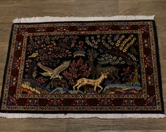 Delightful Hunting Design Small Kashan Ghom Persian Rug Oriental Area Carpet 2X3