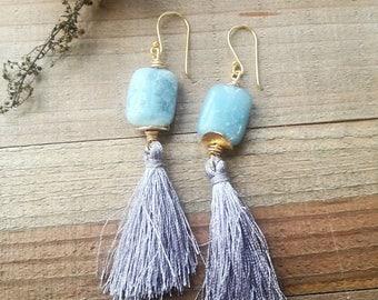 Ocean Jasper tassel earrings