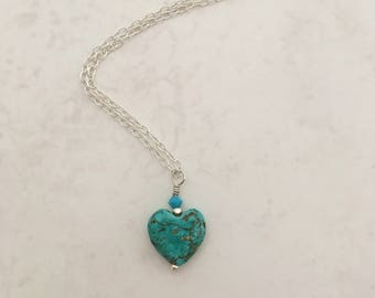 Sterling Silver Turquoise Sweetheart Necklace