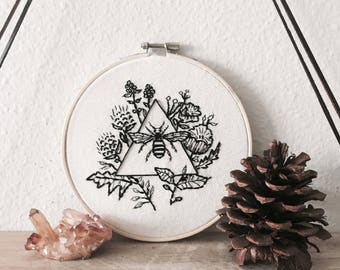 Geometric Garden Embroidery Hoop Wall Hanging