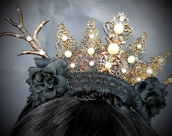 Gold & Bronze Pearls Gothic headpiece with handmade tree branches/deer antlers, headband in gold bronze with hand-shaped twigs/antlers