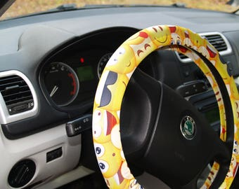 Emoji steering wheel cover Car accessories Steering wheel decor Sunny wheel cover Wheel decor for woman Car decoration Emoji car decor Gift