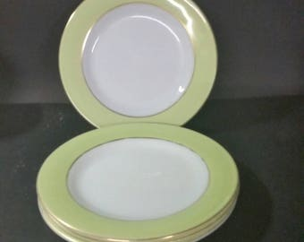 Vintage pyrex, white with lime green 8 inch plates,  set of 4