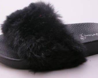 Celebrity Inspired Black Faux Fur Slides