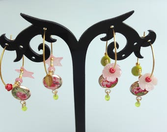"""Earrings """"Tropical flowers"""" - hoop earrings - dangling earrings."""