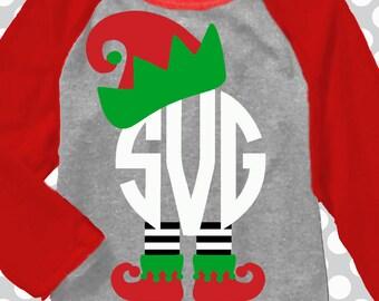 Elf Monogram svg, christmas monogram, svg, Elf svg, Elf hat SVG, Elf shirt, Christmas SVG, DXF, Christmas monogram sets,  iron on, digital