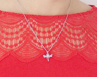 925 Sterling Silver Dragonfly Pendant Dragonfly Necklace