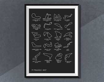 Grand Prix F1 2017 Calendar, Formula 1 Print, F1 Race Track World Circuit Map 2017