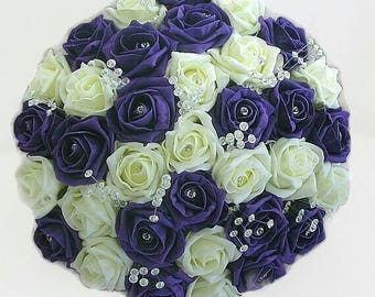Bridal hand tied purple and ivory diamante foam rose bouquet