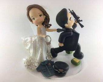 Police wedding topper, cake topper for wedding, wedding topper, bride and groom, figuras novios