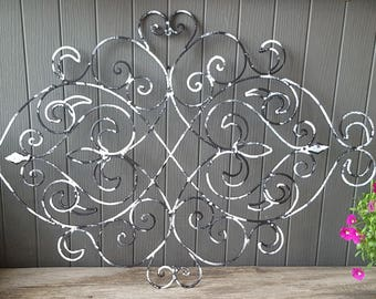 Shabby Chic Wrought Iron Wall Decor / Fleur De Lis Wall Decor/ Wrought Iron  Headboard