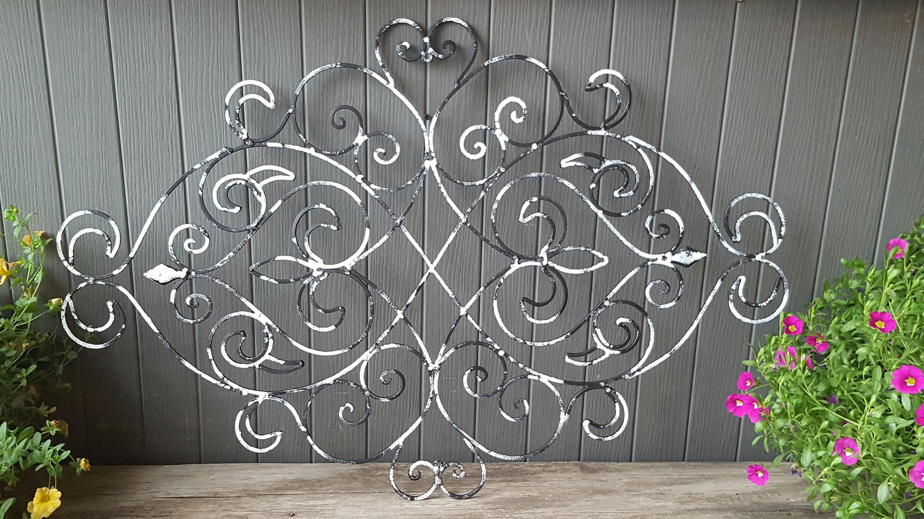Shabby Chic Wrought Iron Wall Decor / Fleur De Lis Wall Decor/