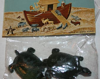 Vintage 1972 ARCO Gas Station Premium Noah's Ark Animal TURTLES Paired Set in Original Package