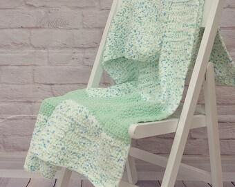 Crochet afgan blanket, baby blanket, white and mint blanket
