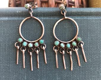 Vintage Turquoise Petit Point Hoop Earrings