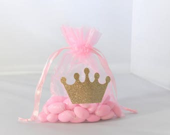 Princess Crown Favor Bags Pink and Gold Organza for Birthdays, Baby Showers, Christenings, Baptisms