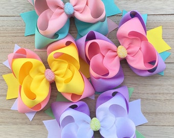Double stacked hair bows, big hair bows, pink hair bows, lilac hair bows, easter hair bows, double stack bows, blue bows, easter headbands
