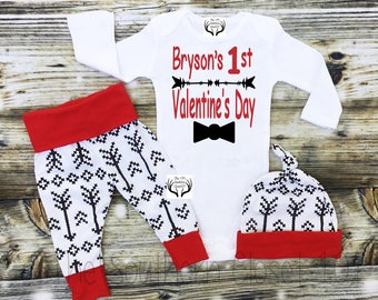 Baby Boys First Valentine's Day Outfit, Valentine's Day Outfit, My 1st Valentines Day, Baby Coming home outfit, Black Arrows, Leggings