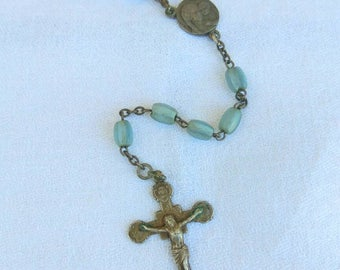 Vintage rosary, tiny blue glass beads, silver coloured crucifix. Catholic jewellery.
