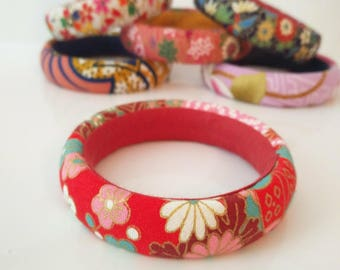 1 red and pink Japanese fabric cuff bracelet