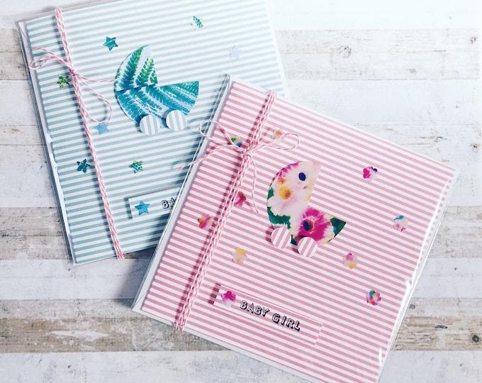 Baby girl/baby boy greeting cards