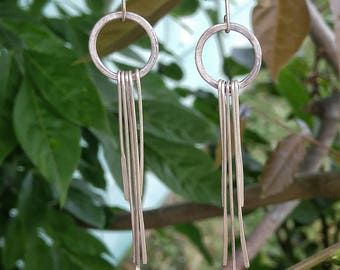 SterlingSilver, Boho, Full Circle, Long Dangle, Earrings, Fringe, Handmade, Canadian Seller