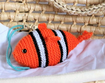 Nemo Fish Rattle Toy - Baby Crib Rattle Toy - Car Seat Toy - Play Gym Toy- Hand Knitted Special Edition