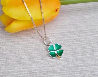 Sterling Silver Green 4 Leaf Clover Necklace, St Patricks Day Necklace, Shamrock Clover, Irish Pride